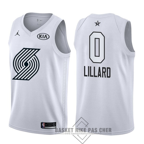 Maillot NBA Pas Cher - Maillot NBA 2018 All Star NO.0 Damian Lillard Blanc