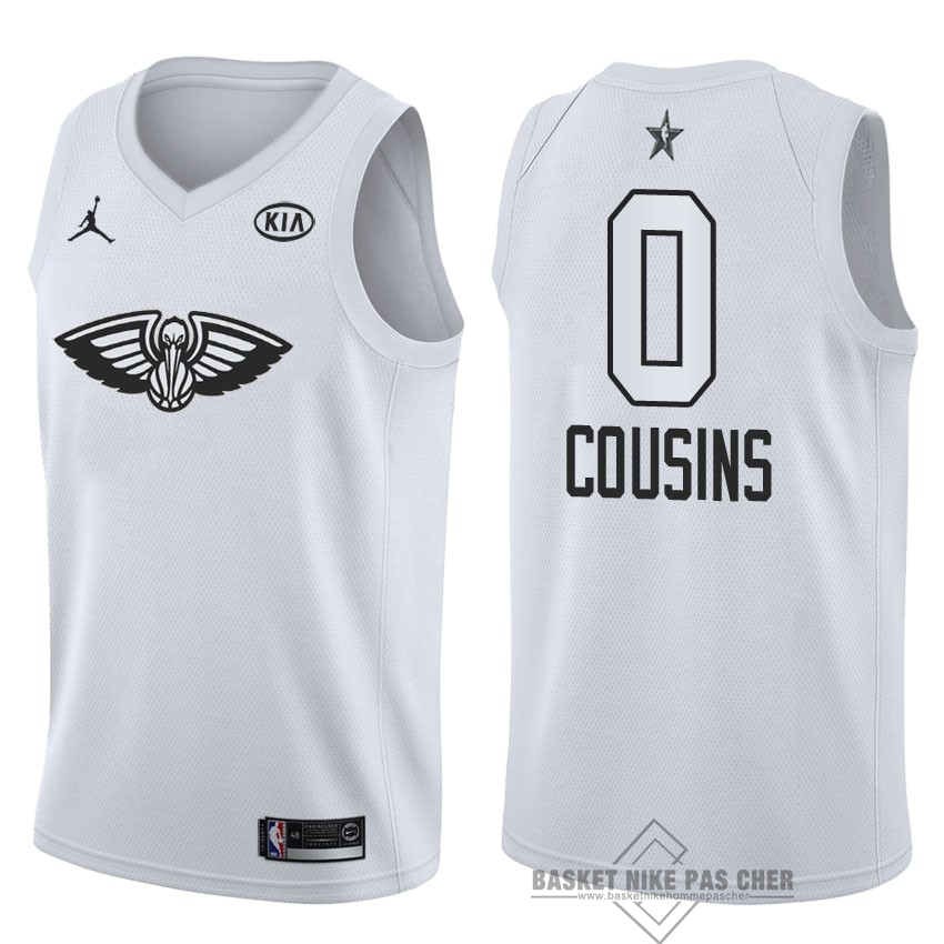 Maillot NBA Pas Cher - Maillot NBA 2018 All Star NO.0 DeMarcus Cousins Blanc