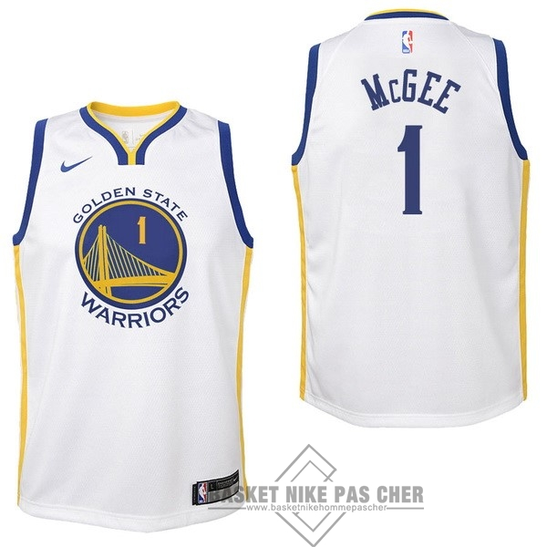 Maillot NBA Pas Cher - Maillot NBA Enfant Golden State Warriors NO.1 JaVale McGee Blanc Association 2017-18