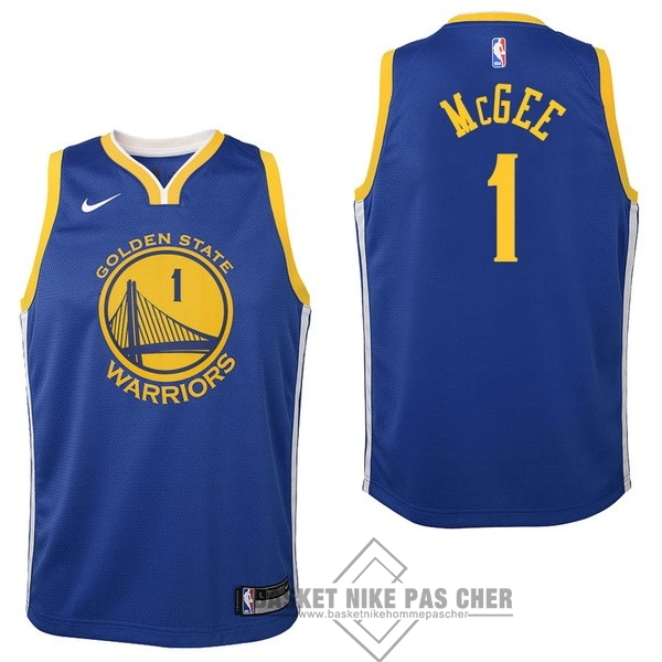 Maillot NBA Pas Cher - Maillot NBA Enfant Golden State Warriors NO.1 JaVale McGee Bleu Icon 2017-18