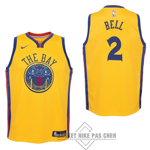 Maillot NBA Pas Cher - Maillot NBA Enfant Golden State Warriors NO.2 Jordan Bell Nike Jaune Ville 2017-18