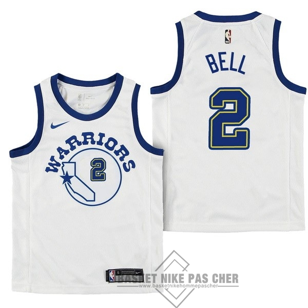 Maillot NBA Pas Cher - Maillot NBA Enfant Golden State Warriors NO.2 Jordan Bell Nike Retro Blanc 2017-18