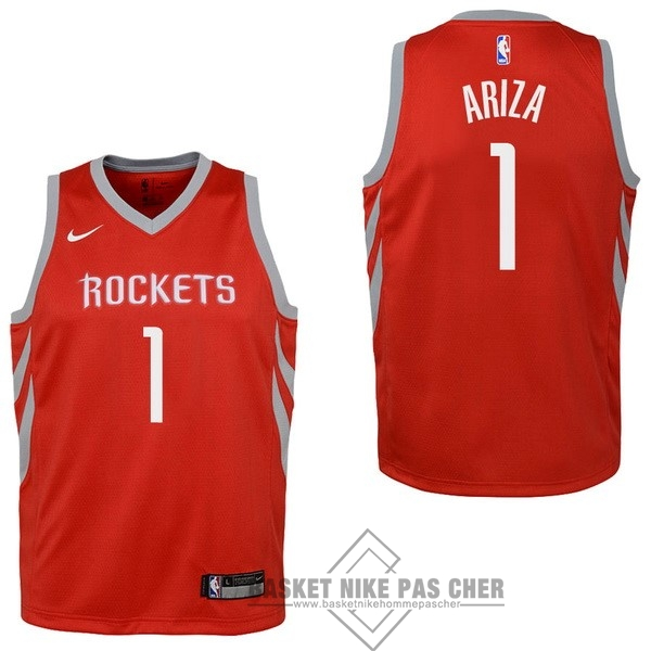 Maillot NBA Pas Cher - Maillot NBA Enfant Houston Rockets NO.1 Trevor Ariza Rouge Icon 2017-18