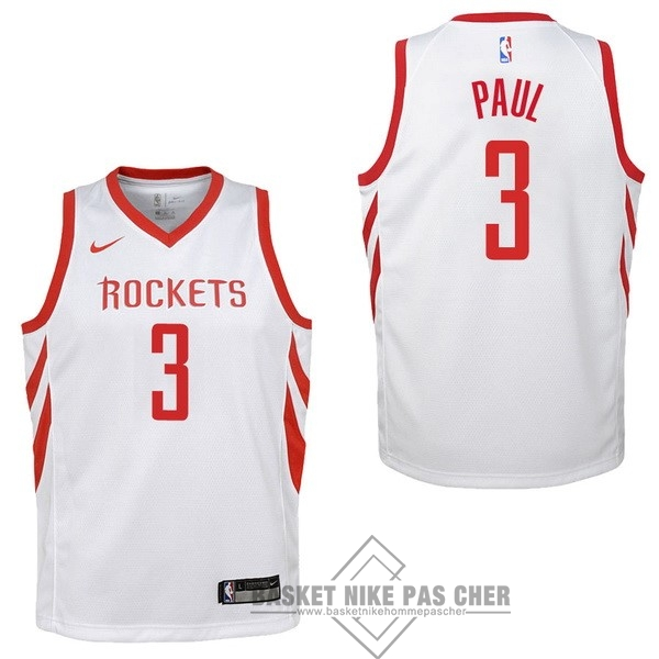 Maillot NBA Pas Cher - Maillot NBA Enfant Houston Rockets NO.3 Chris Paul Blanc Association 2017-18