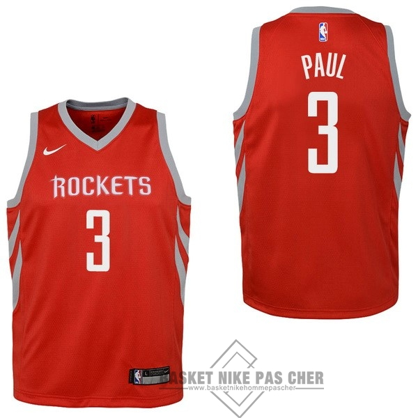 Maillot NBA Pas Cher - Maillot NBA Enfant Houston Rockets NO.3 Chris Paul Rouge Icon 2017-18