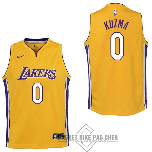 Maillot NBA Pas Cher - Maillot NBA Enfant Los Angeles Lakers NO.0 Kyle Kuzma Jaune Icon 2017-18