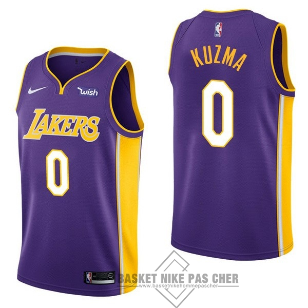 Maillot NBA Pas Cher - Maillot NBA Enfant Los Angeles Lakers NO.0 Kyle Kuzma Pourpre 2017-18