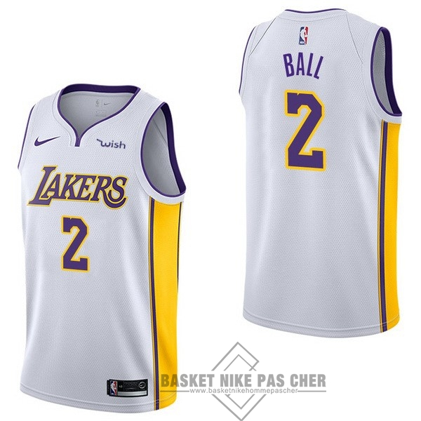 Maillot NBA Pas Cher - Maillot NBA Enfant Los Angeles Lakers NO.2 Lonzo Ball Blanc 2017-18