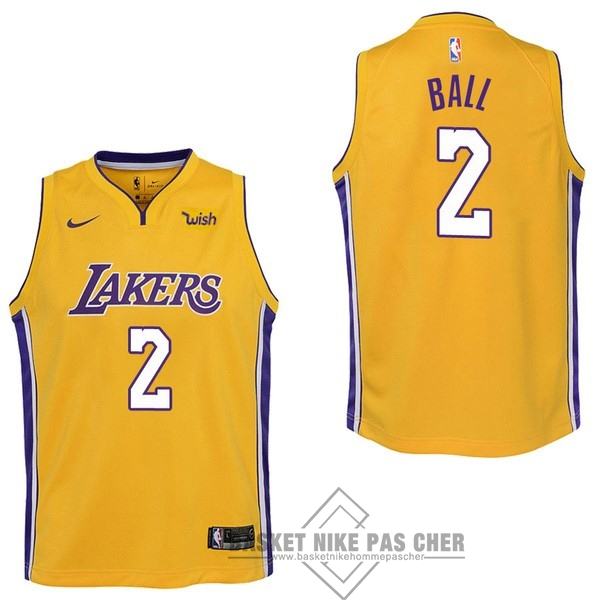 Maillot NBA Pas Cher - Maillot NBA Enfant Los Angeles Lakers NO.2 Lonzo Ball Jaune 2017-18
