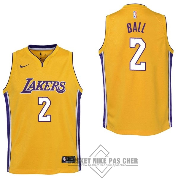 Maillot NBA Pas Cher - Maillot NBA Enfant Los Angeles Lakers NO.2 Lonzo Ball Jaune Icon 2017-18