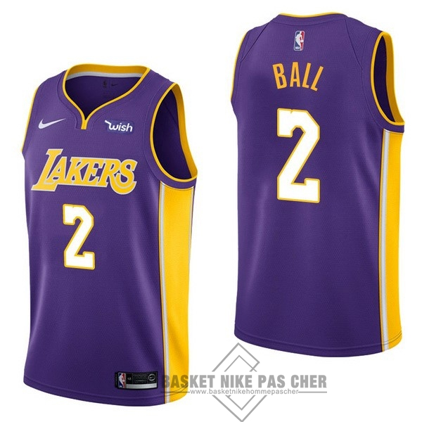 Maillot NBA Pas Cher - Maillot NBA Enfant Los Angeles Lakers NO.2 Lonzo Ball Pourpre 2017-18