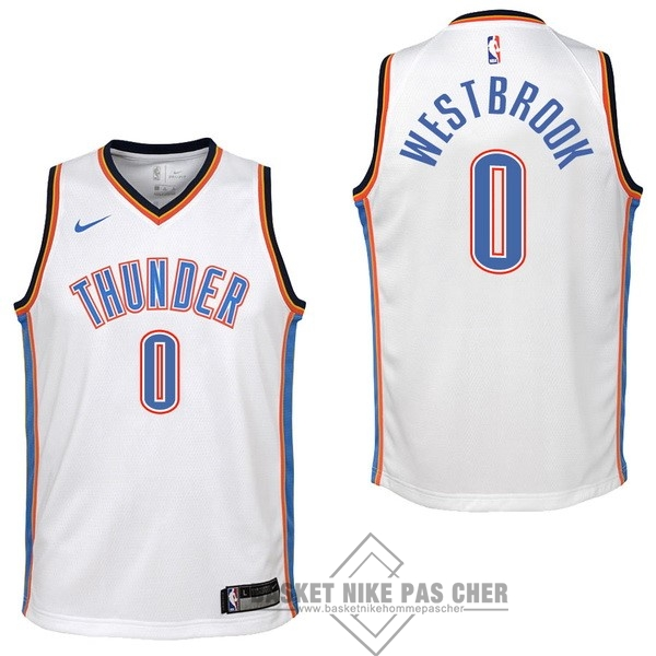 Maillot NBA Pas Cher - Maillot NBA Enfant Oklahoma City Thunder NO.0 Russell Westbrook Blanc Association 2017-18