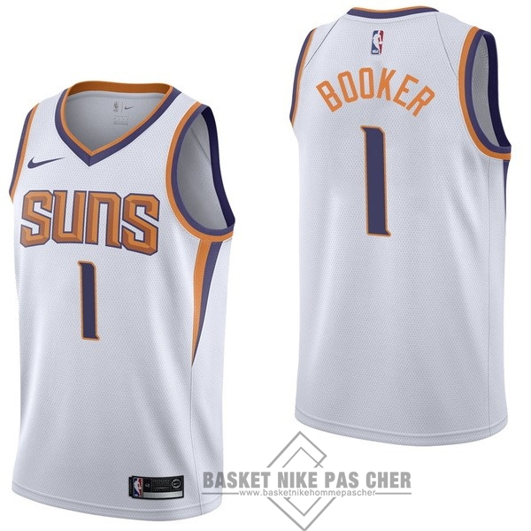 Maillot NBA Pas Cher - Maillot NBA Enfant Phoenix Suns NO.1 Devin Booker Blanc Association 2017-18