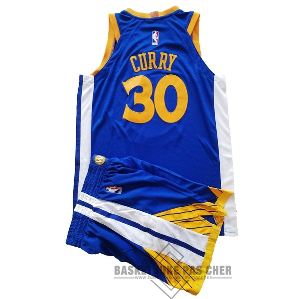 Maillot NBA Pas Cher - Maillot NBA Ensemble Complet Enfant Golden State Warriors NO.30 Stephen Curry Bleu 2017-18