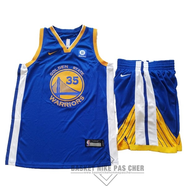 Maillot NBA Pas Cher - Maillot NBA Ensemble Complet Enfant Golden State Warriors NO.35 Kevin Durant Bleu 2017-18