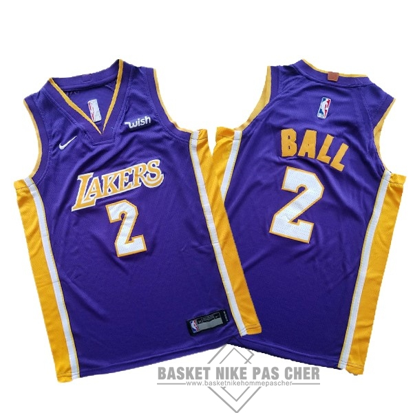 Maillot NBA Pas Cher - Maillot NBA Ensemble Complet Enfant Los Angeles Lakers NO.2 Lonzo Ball Pourpre 2017-18