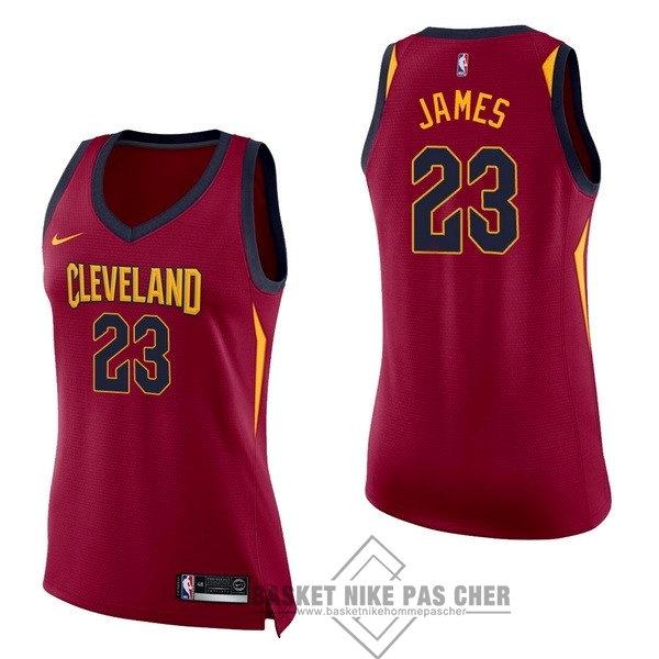 Maillot NBA Pas Cher - Maillot NBA Femme Cleveland Cavaliers NO.23 LeBron James Rouge Icon