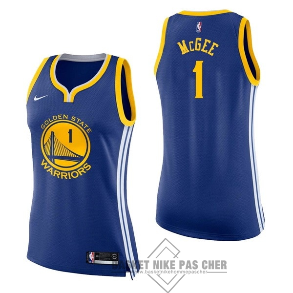 Maillot NBA Pas Cher - Maillot NBA Femme Golden State Warriors NO.1 JaVale McGee Bleu Icon