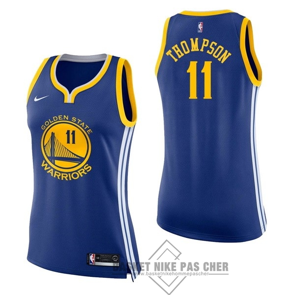 Maillot NBA Pas Cher - Maillot NBA Femme Golden State Warriors NO.11 Klay Thompson Bleu Icon