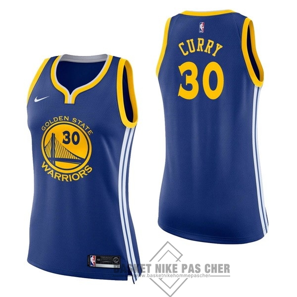 Maillot NBA Pas Cher - Maillot NBA Femme Golden State Warriors NO.30 Stephen Curry Bleu Icon