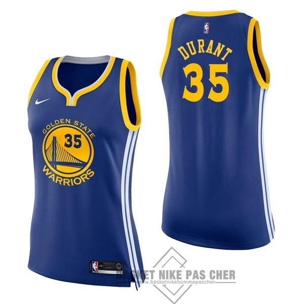 Maillot NBA Pas Cher - Maillot NBA Femme Golden State Warriors NO.35 Kevin Durant Bleu Icon