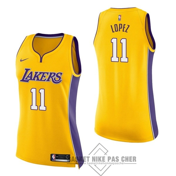 Maillot NBA Pas Cher - Maillot NBA Femme Los Angeles Lakers NO.11 Brook Lopez Jaune Icon