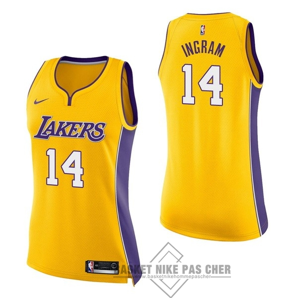 Maillot NBA Pas Cher - Maillot NBA Femme Los Angeles Lakers NO.14 Brandon Ingram Jaune Icon