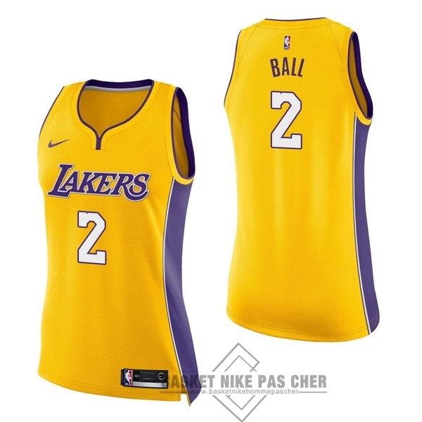 Maillot NBA Pas Cher - Maillot NBA Femme Los Angeles Lakers NO.2 Lonzo Ball Jaune Icon