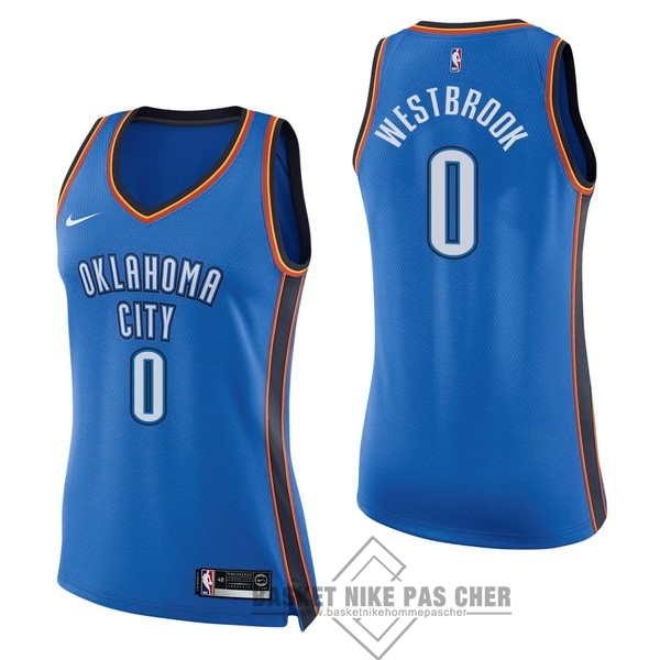 Maillot NBA Pas Cher - Maillot NBA Femme Oklahoma City Thunder NO.0 Russell Westbrook Bleu Icon