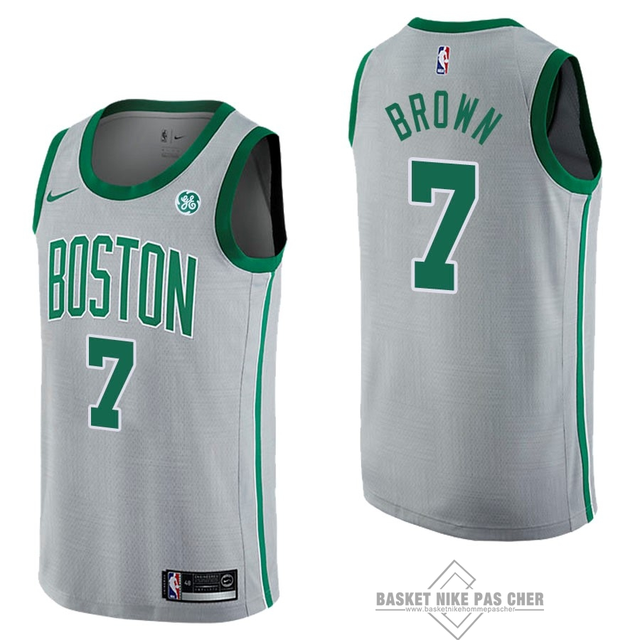 Maillot NBA Pas Cher - Maillot NBA Nike Boston Celtics NO.7 Jaylen Brown Gris Ville