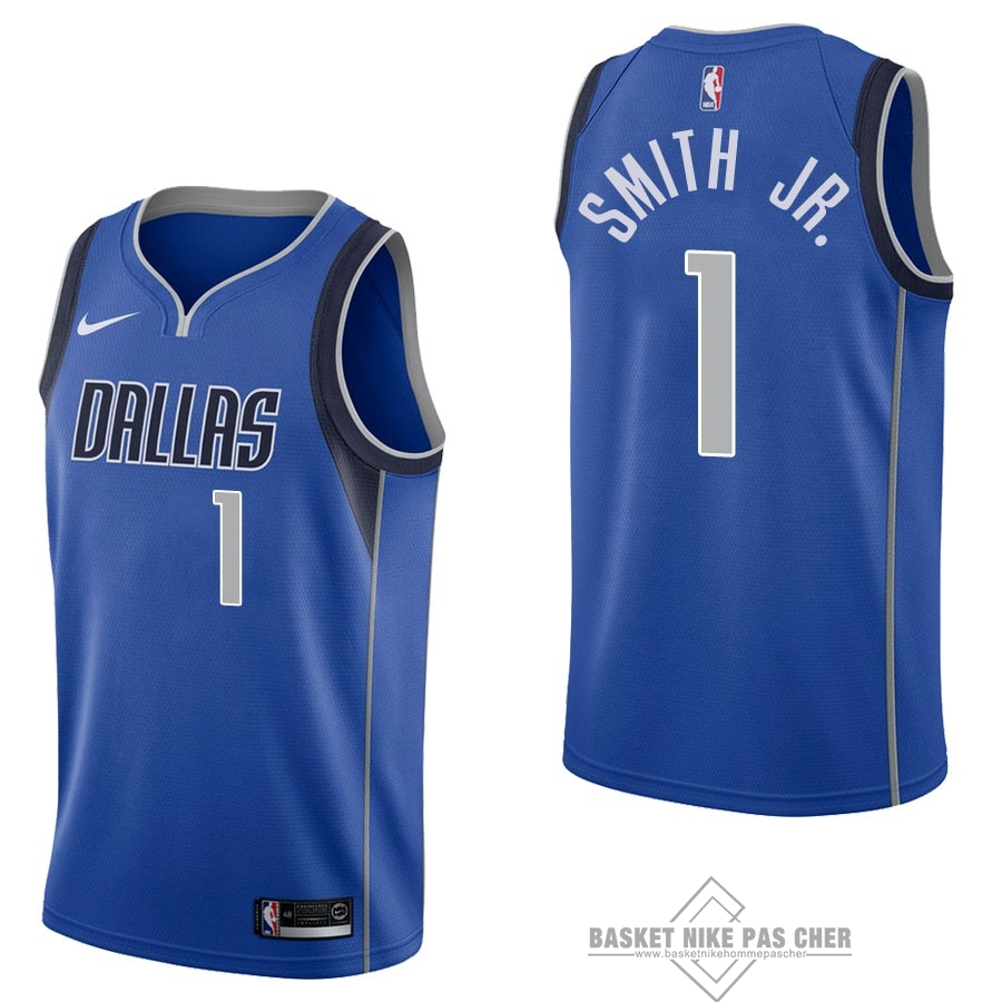 Maillot NBA Pas Cher - Maillot NBA Nike Dallas Mavericks NO.1 Dennis Smith Jr Bleu Icon