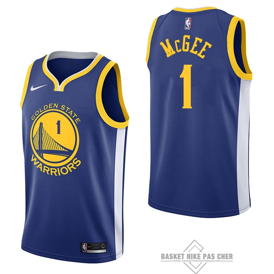 Maillot NBA Pas Cher - Maillot NBA Nike Golden State Warriors NO.1 JaVale McGee Bleu Icon