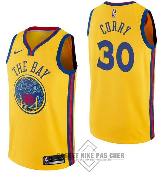 Maillot NBA Pas Cher - Maillot NBA Nike Golden State Warriors NO.30 Stephen Curry Nike Jaune Ville