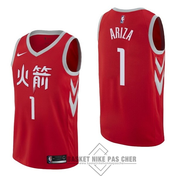 Maillot NBA Pas Cher - Maillot NBA Nike Houston Rockets NO.1 Trevor Ariza Nike Rouge Ville