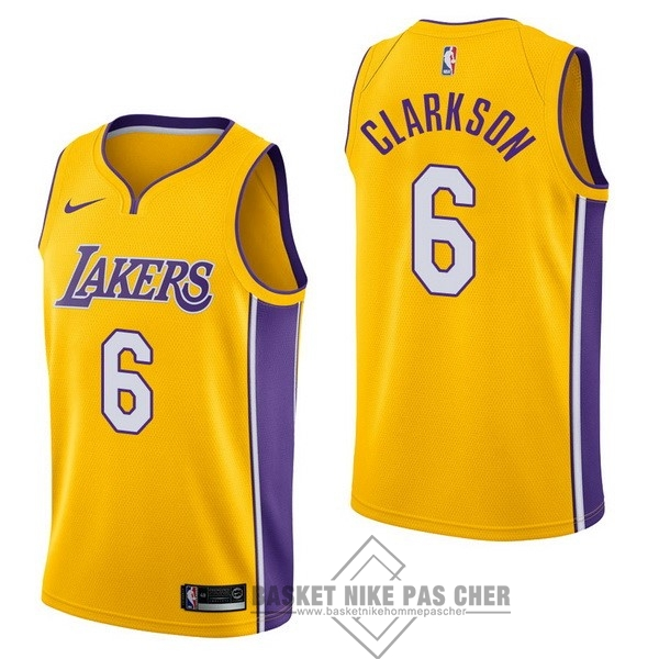 Maillot NBA Pas Cher - Maillot NBA Nike Los Angeles Lakers NO.6 Jordan Clarkson Jaune Icon