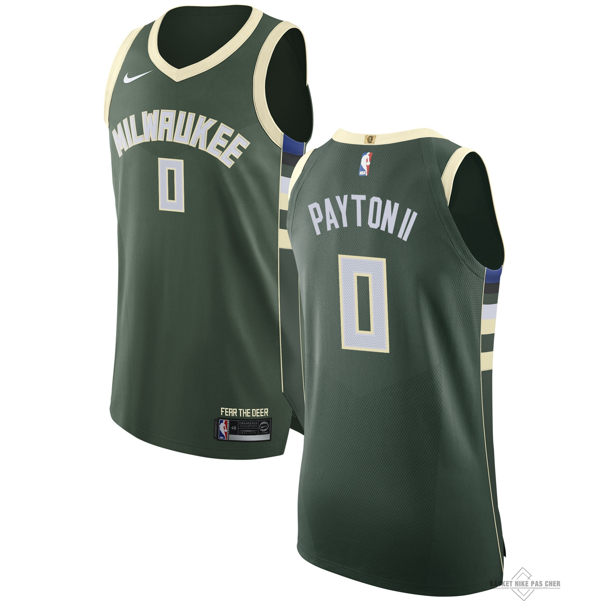 Maillot NBA Pas Cher - Maillot NBA Nike Milwaukee Bucks NO.0 Gary Payton II Vert Icon