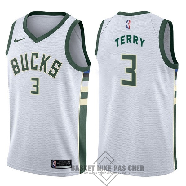 Maillot NBA Pas Cher - Maillot NBA Nike Milwaukee Bucks NO.3 Jason Terry Blanc Association