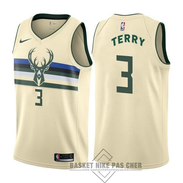 Maillot NBA Pas Cher - Maillot NBA Nike Milwaukee Bucks NO.3 Jason Terry Nike Crème Ville