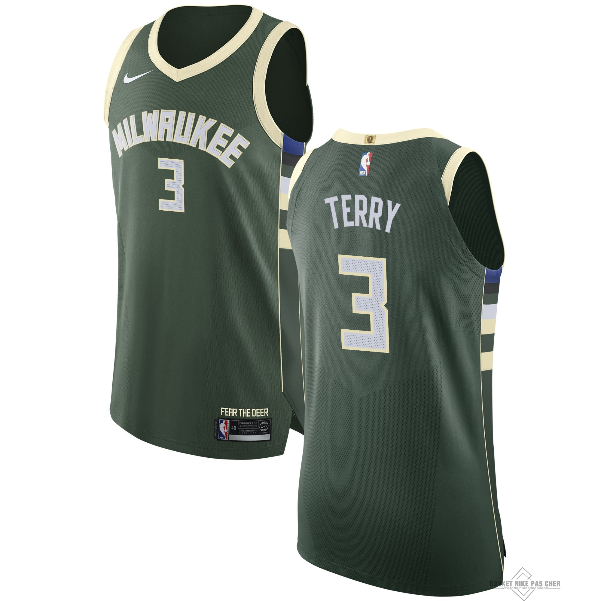 Maillot NBA Pas Cher - Maillot NBA Nike Milwaukee Bucks NO.3 Jason Terry Vert Icon