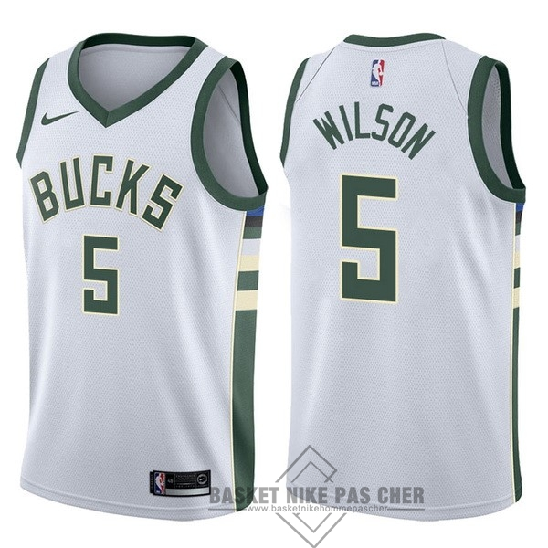 Maillot NBA Pas Cher - Maillot NBA Nike Milwaukee Bucks NO.5 D.J. Wilson Blanc Association
