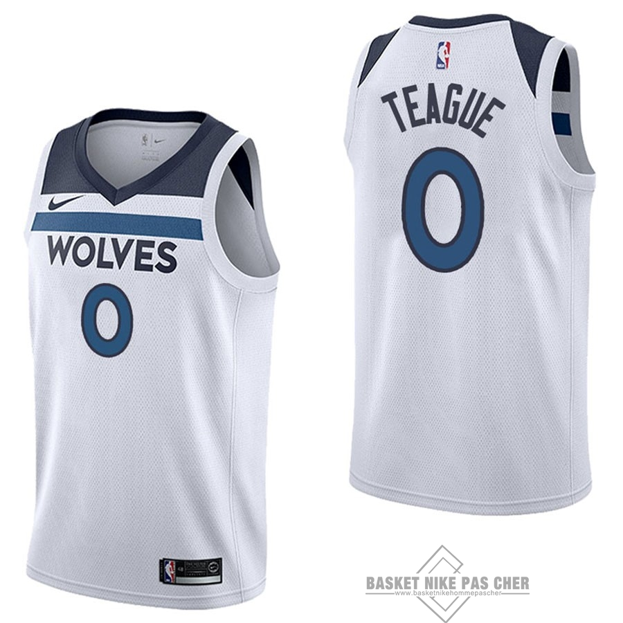 Maillot NBA Pas Cher - Maillot NBA Nike Minnesota Timberwolves NO.0 Jeff Teague Blanc Association