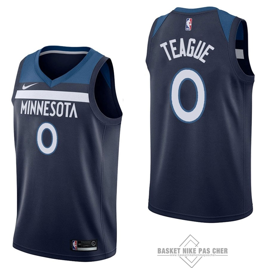 Maillot NBA Pas Cher - Maillot NBA Nike Minnesota Timberwolves NO.0 Jeff Teague Marine Icon