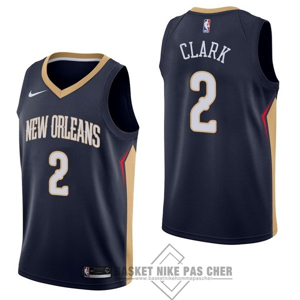Maillot NBA Pas Cher - Maillot NBA Nike New Orleans Pelicans NO.2 Ian Clark Marine Icon