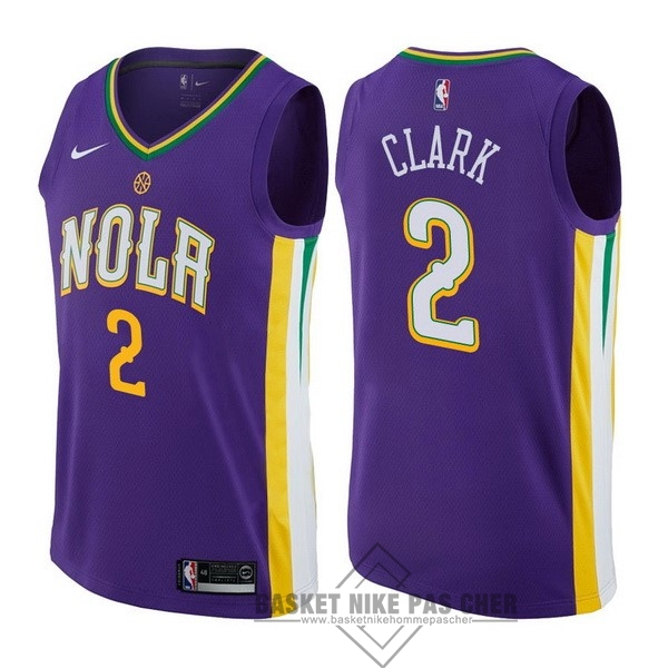 Maillot NBA Pas Cher - Maillot NBA Nike New Orleans Pelicans NO.2 Ian Clark Nike Pourpre Ville