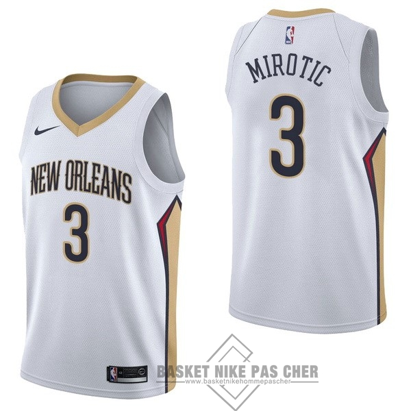 Maillot NBA Pas Cher - Maillot NBA Nike New Orleans Pelicans NO.3 Nikola Mirotic Blanc Association
