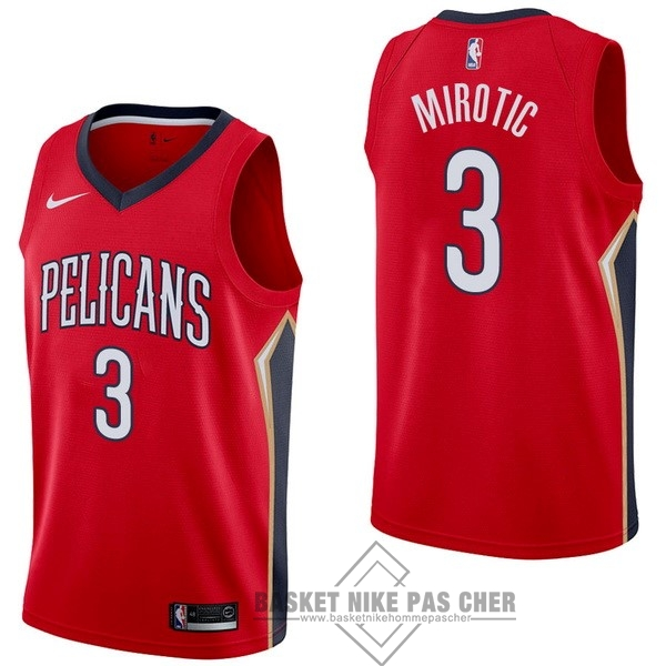 Maillot NBA Pas Cher - Maillot NBA Nike New Orleans Pelicans NO.3 Nikola Mirotic Rouge Statement