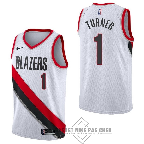 Maillot NBA Pas Cher - Maillot NBA Nike Portland Trail Blazers NO.1 Evan Turner Blanc Association