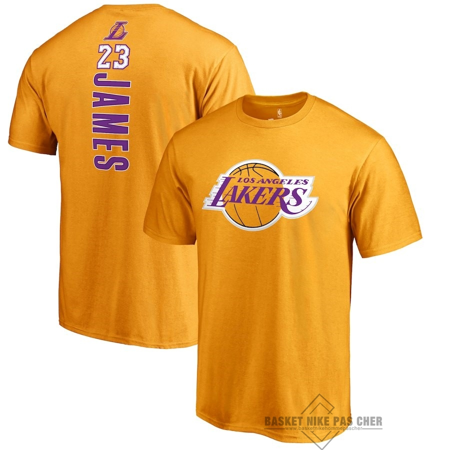 Maillot NBA Pas Cher - Maillot NBA Nike Los Angeles Lakers Manche Courte NO.23 Lebron James Jaune