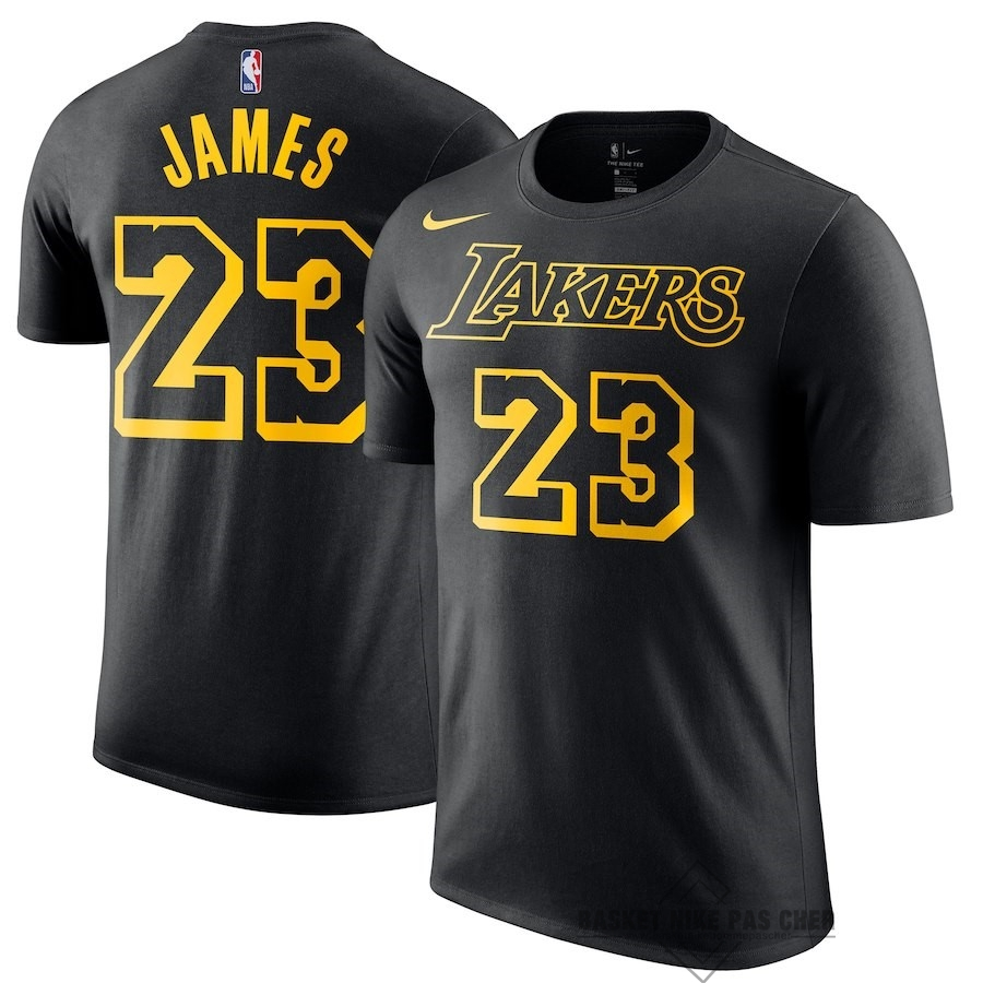 Maillot NBA Pas Cher - Maillot NBA Nike Los Angeles Lakers Manche Courte NO.23 Lebron James Noir Ville