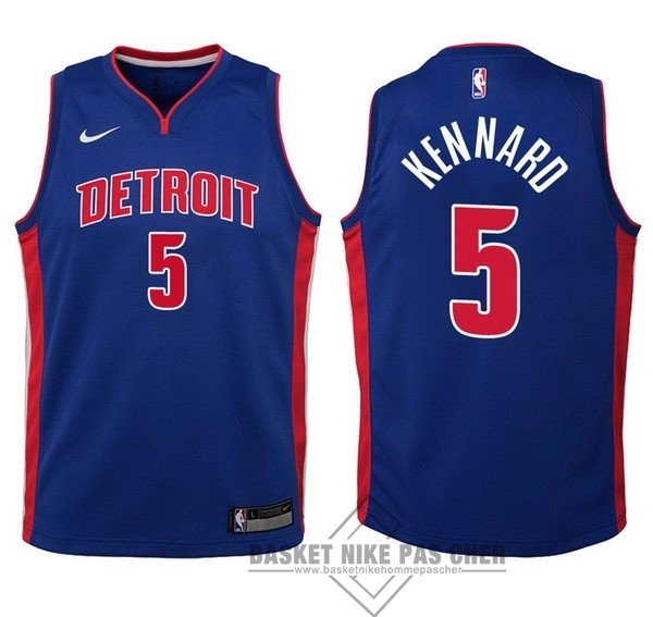 Maillot NBA Pas Cher - Maillot NBA Enfant Detroit Pistons NO.5 Luke Kennard Bleu Icon